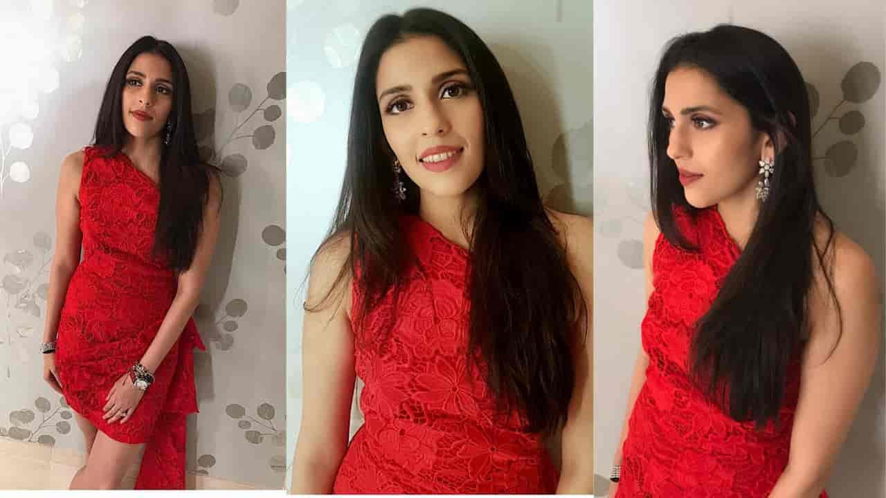 SHloka Mehta in Red short dress