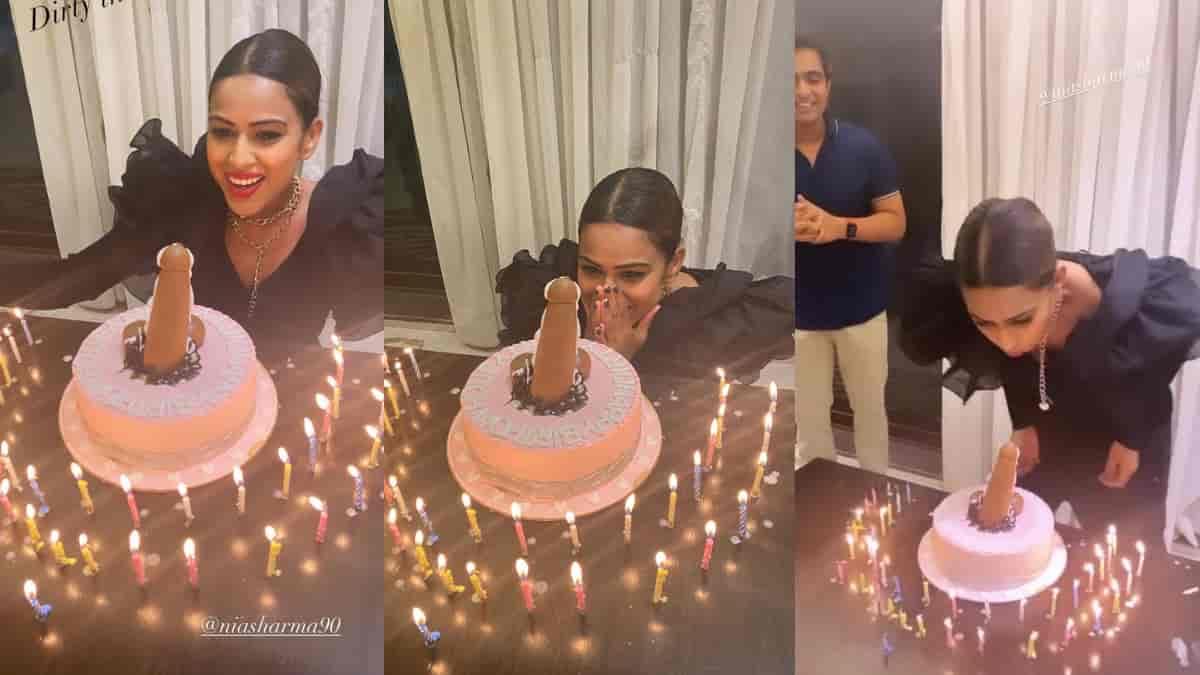 Nia Sharma dirty birthday cake
