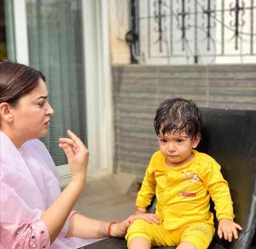 Jai Bhanushali and Mahi Vij's daughter Tara's Mundan ceremony