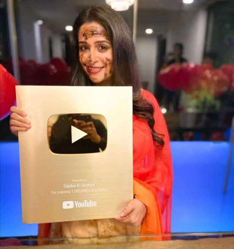 Deepika Kakkar Ibrahim shared  picture with her Gold Play button