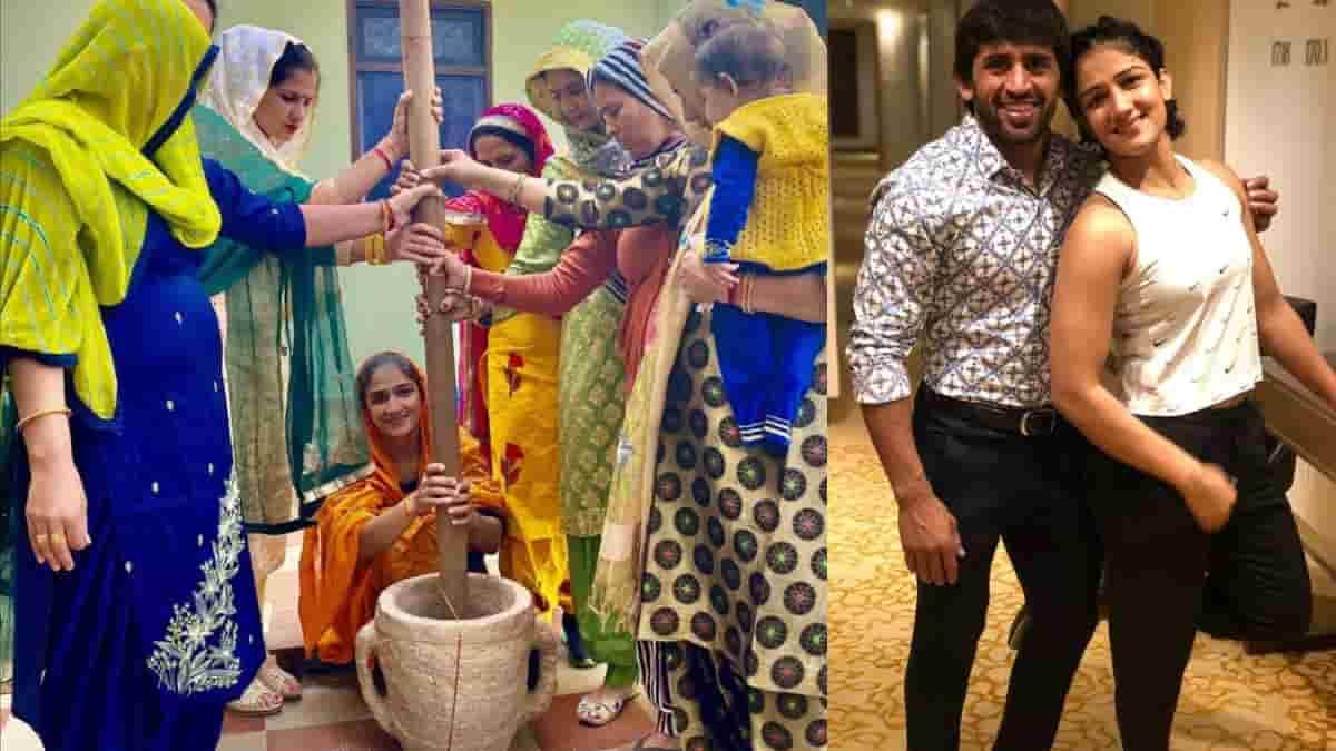 Wrestler Sangeeta Phogat and Bajrang Punia's wedding rituals begin